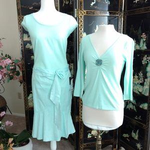New Mint Green 3 Piece Skirt Outfit